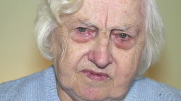 Sad, Pensive Old Woman 2 stock footage