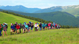 Young People in a Mountain Hike Footage