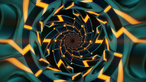 Spiral 3D tunnel with yellow glowing arrows CG動画素材
