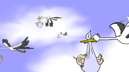 team of stork brings babies Animation