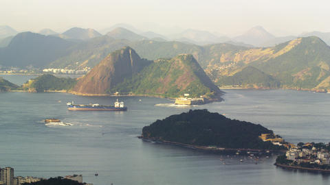 Pan of Guanabara Bay and barge Footage