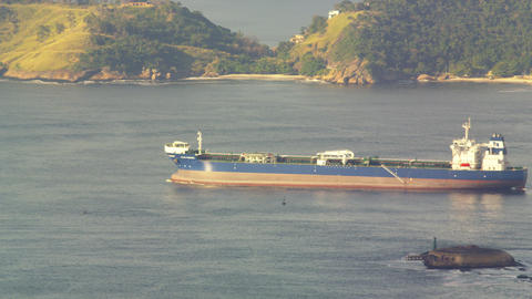 Barge slowly moving across Guanabara Bay Footage