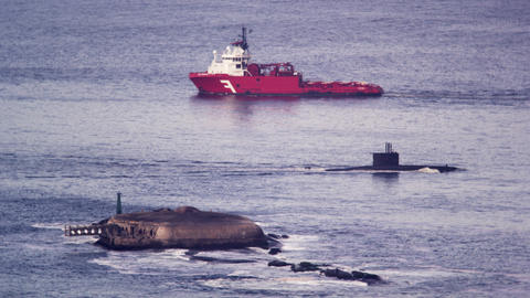 Barge and submarine in Guanabara Bay Footage
