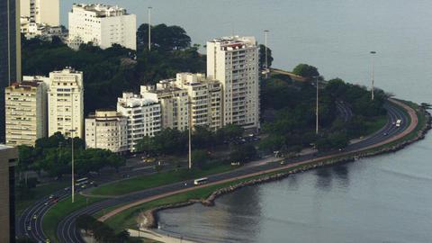 Static shot of traffic traveling on Avenida das Nacoes Unidas Footage