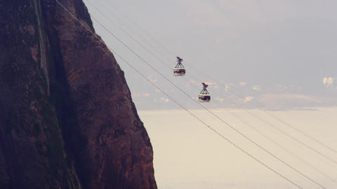 Static Shot Of Cable Cars Going In Opposite Direct stock footage