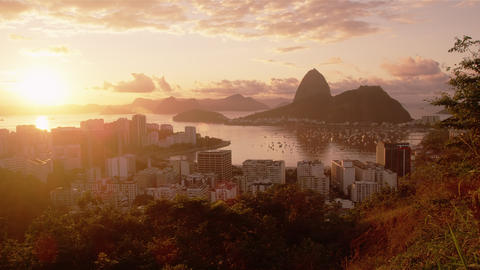 Tracking shot of Rio, Sugarloaf, sunshine, and Botafogo Bay Footage