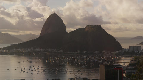 Time-lapse tracking shot of boats moving in Botafogo Bay Footage