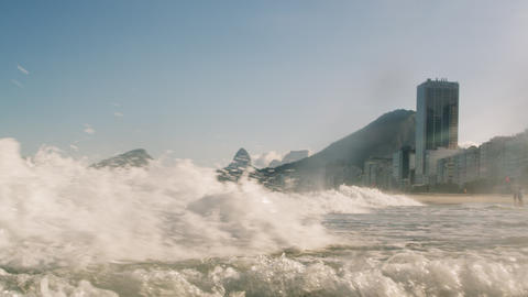 Footage of the Atlantic Ocean charging into the shoreline - Rio de Janeiro, Braz Footage
