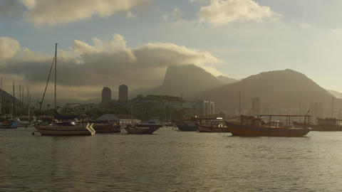 Static shot of boats at harbor in Guanabara Bay Footage