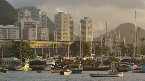 Static shot of Guanabara Bay with various boats and buildings in the distance Footage