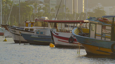 Static shot of fishing boats in Rio Footage