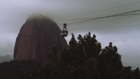 Panoramic view of Rio de Janeiro's famous monument the Cristo Redentor Footage