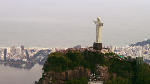 Aerial shot of tourists and Christ Statue Footage
