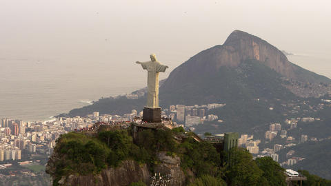 Aerial shot from copter of famous statue of Christ Footage