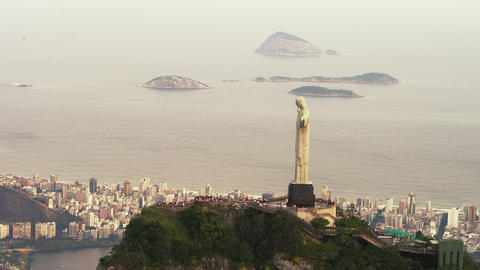Aerial footage of Christ the Redeemer on top of famous Corcovado mountain Footage
