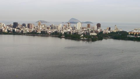 Aerial view of helicopter flying over Lagoa - Rio de Janeiro, Brazil Footage
