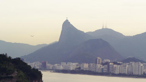 Long distance tracking shot of Christ the Redeemer statue in Rio de Janeiro, Bra Footage
