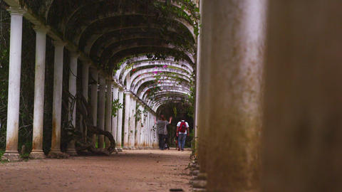 Panning shot of couple walking under famous arches in botanical gardens Footage