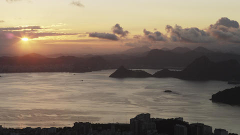 Panning shot of Rio de Janeiro, Brazil during sunset Footage