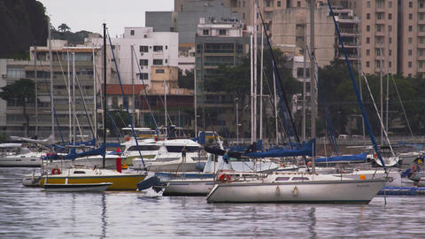Static shot of moored boats at a marina in Rio de Janeiro, Brazil Footage