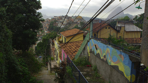 Shot of a neighborhood in Rio de Janeiro overlooking a favela Footage