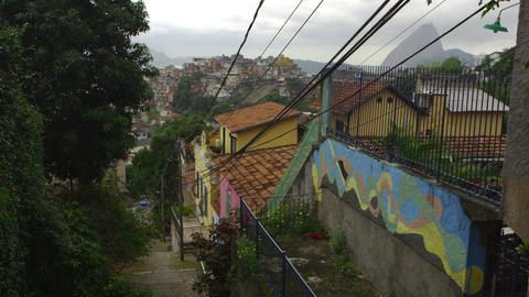 Shot of a neighborhood in Rio de Janeiro overlooking a favela Footage