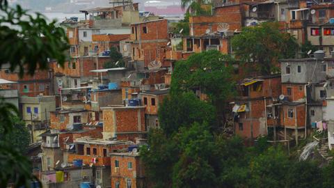 Tilting shot of a favela in Rio de Janeiro, Brazil Footage
