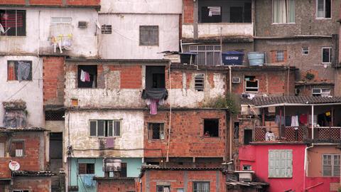 Panning shot of shantytown in Rio de Janeiro, Brazil Footage