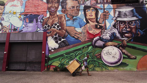 RIO DE JANEIRO, BRAZIL - JUNE 23: Static shot of a graffiti wall on June 23, 201 Footage