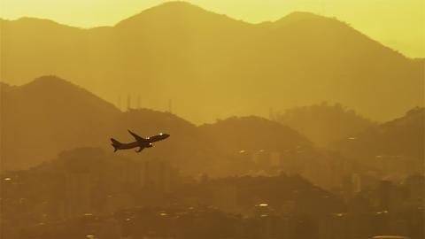Plane ascending above Rio de Janeiro Footage