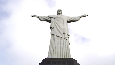 Low-angle pan of Rio's Christ the Redeemer statue Footage