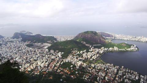 Pan of Rio de Janeiro taken from the top of Corcovado Mountain Footage