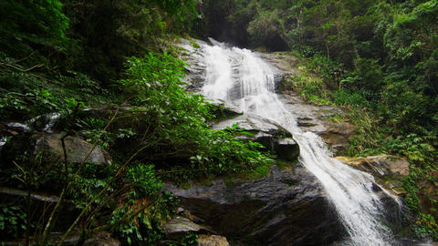 Slow motion shot of a jungle waterfall cascading down a dark rocky outcropping i Footage