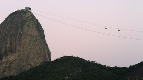 Static Shot Of Two Cable Cars Ascending And Descen stock footage