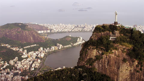High-definition Aerial Shot Of Christ The Redeemer stock footage
