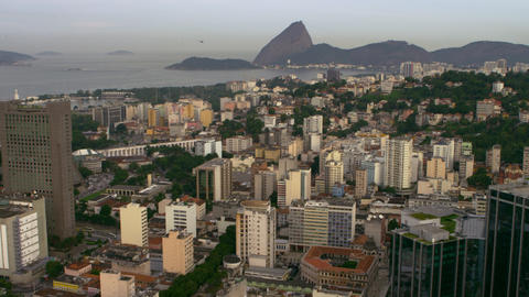 High-definition aerial shot of Rio de Janeiro's buildings and shoreline Footage