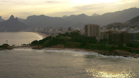Aerial View Of Rio De Janiero With A Mountain Rang stock footage