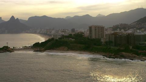 Aerial veiw of Rio de Janiero with a mountain range background Footage