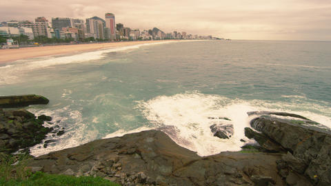 Time-lapse video of waves splashing on rocks along the coast in Rio de Janeiro,  Footage