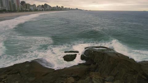 Slow motion shot of Rio de Janeiro shoreline at Rio de Janeiro, Brazil Footage