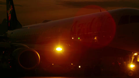 Taxiing Plane At Night At The Jacarepagua Airport  stock footage