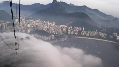 Thick fog over the Brazilian coastline in Rio de Janeiro Live Action