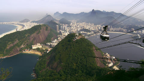 Shot of cable car going up the mountain in Rio de Janeiro, Brazil Footage