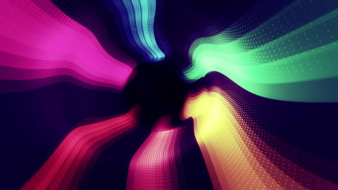 Striped multicolored flowing digital tunnel Animation