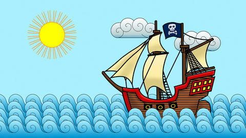 Cartoon Pirate Ship Animation