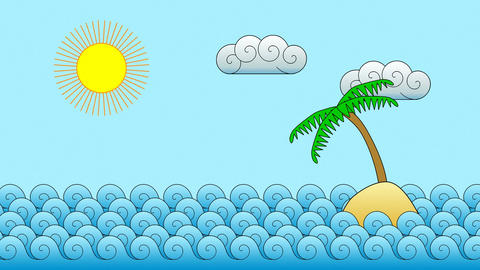 Cartoon Island Motion Background Animation