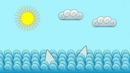 Cartoon Shark Fins Ocean Motion Background Animation