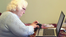 Old Woman Is Worrying About Bills stock footage