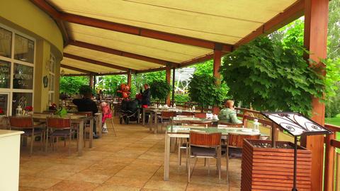 Summer terrace cafe. 4K Footage