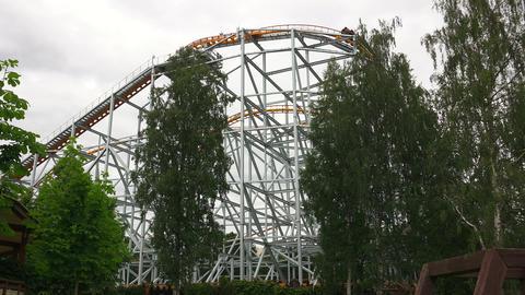 Roller coaster. Attraction. 4K Footage